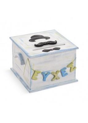 Ευχολόγιο Βάπτισης Κουτί με θέμα Μουστάκι, Little Man