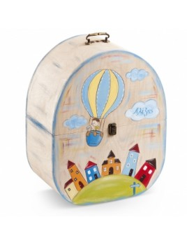 Κουτί βάπτισης Βαλίτσα με Αερόστατο κωδ.6278