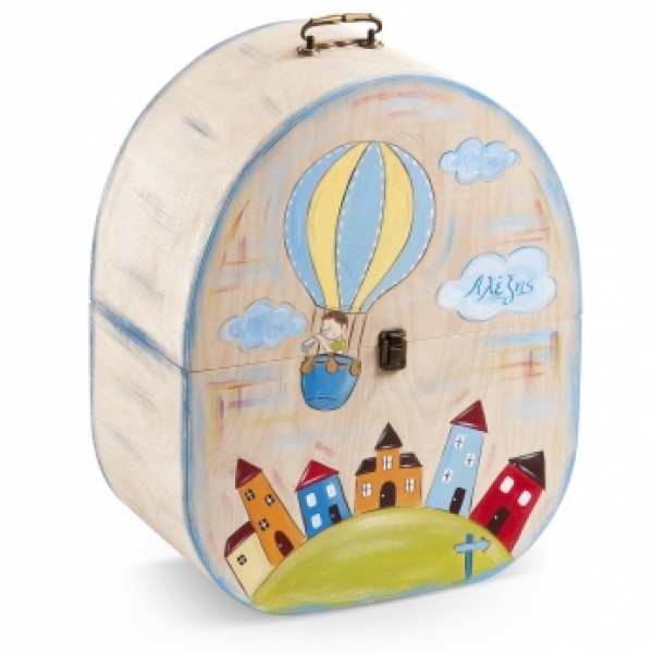 Κουτί βάπτισης Βαλίτσα με Αερόστατο