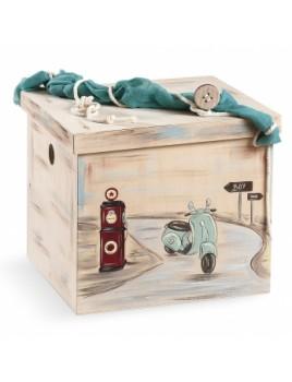 Κουτί βάπτισης Κύβος με Βέσπα κωδ.6282