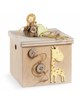 Κουτί βάπτισης Κύβος με Safari, Ζωάκια κωδ.6250