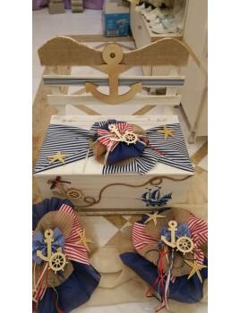Κουτί Βάπτισης Παγκάκι με Καράβι, Θάλασσα, Άγκυρες, Αστερίες κωδ.7539