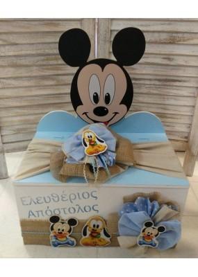Κουτί Βάπτισης Παγκάκι με Mickey κωδ.8967