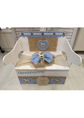 Κουτί Βάπτισης Παγκάκι - Θρανίο με Άλογο κωδ.11529