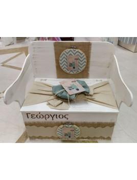 Κουτί Βάπτισης Παγκάκι - Θρανίο με Βέσπα κωδ.8957