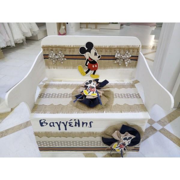 Κουτί Βάπτισης Παγκάκι - Θρανίο με Mickey κωδ.7822