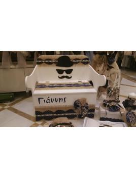 Κουτί Βάπτισης Παγκάκι - Θρανίο με Μουστάκι κωδ.7536