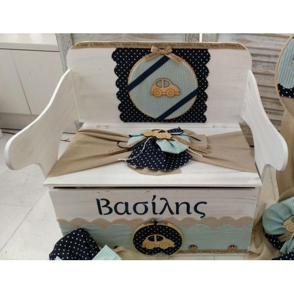 Κουτί Βάπτισης Παγκάκι - Θρανίο με Σκαραβέος κωδ.8946