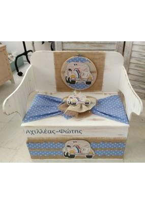 Κουτί Βάπτισης Παγκάκι - Θρανίο με Σκαραβέος κωδ.8963