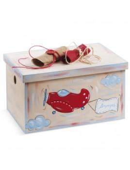 Κουτί βάπτισης Σεντούκι με Αεροπλάνο κωδ.6272