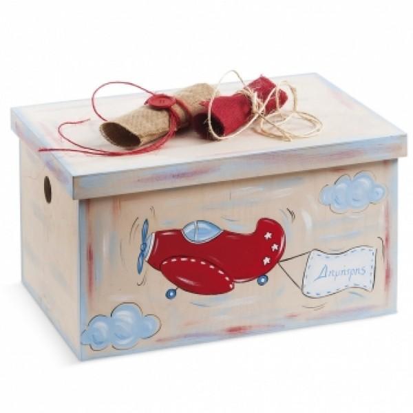 Κουτί βάπτισης Σεντούκι με Αεροπλάνο