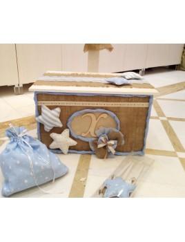 Κουτί βάπτισης Σεντούκι με Αρχικό, Αστέρια κωδ.6183