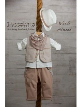 Piccolino Κουστούμι Βάπτισης AG19S02 WANDO ALMOND