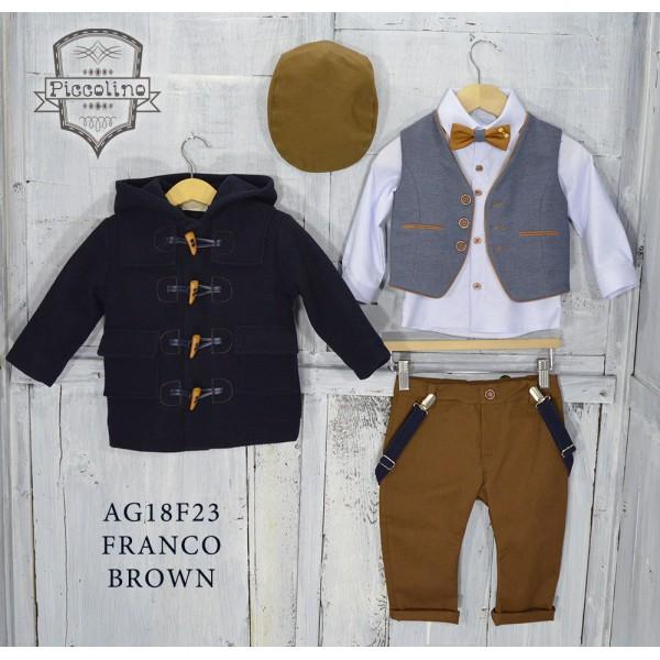 Piccolino Κουστούμι Βάπτισης AG18F23 FRANCO BROWN