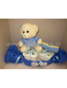 Δωρότουρτα Καραμέλα με αρκουδάκι (diaper cake)