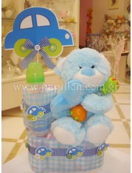Δωρότουρτα με αμάξι και αρκουδάκι (diaper cake)