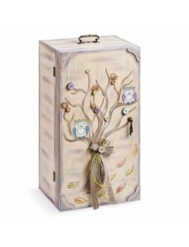Κουτί βάπτισης Ντουλάπα με Κουκουβάγια κωδ.6318