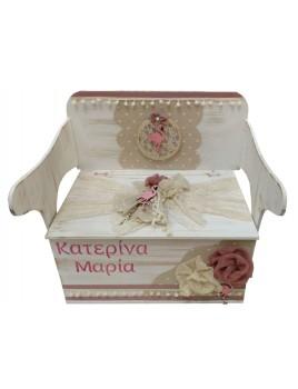 Κουτί Βάπτισης Παγκάκι - Θρανίο με Φλαμίνγκο