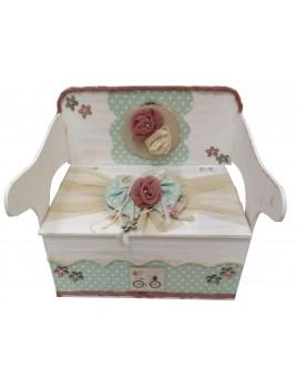 Κουτί Βάπτισης Παγκάκι - Θρανίο με Ποδήλατο, Λουλούδι κωδ.11525