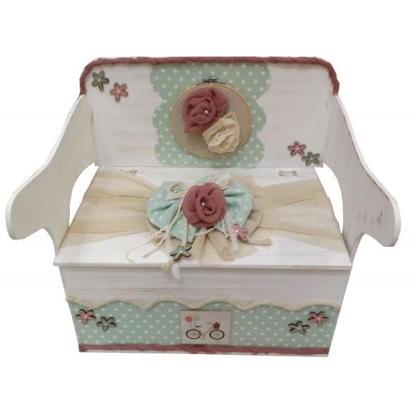Κουτί Βάπτισης Παγκάκι - Θρανίο με Ποδήλατο, Λουλούδι