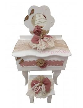 Κουτί Βάπτισης Τουαλέτα με Πουλάκι, Λουλούδι κωδ.11526