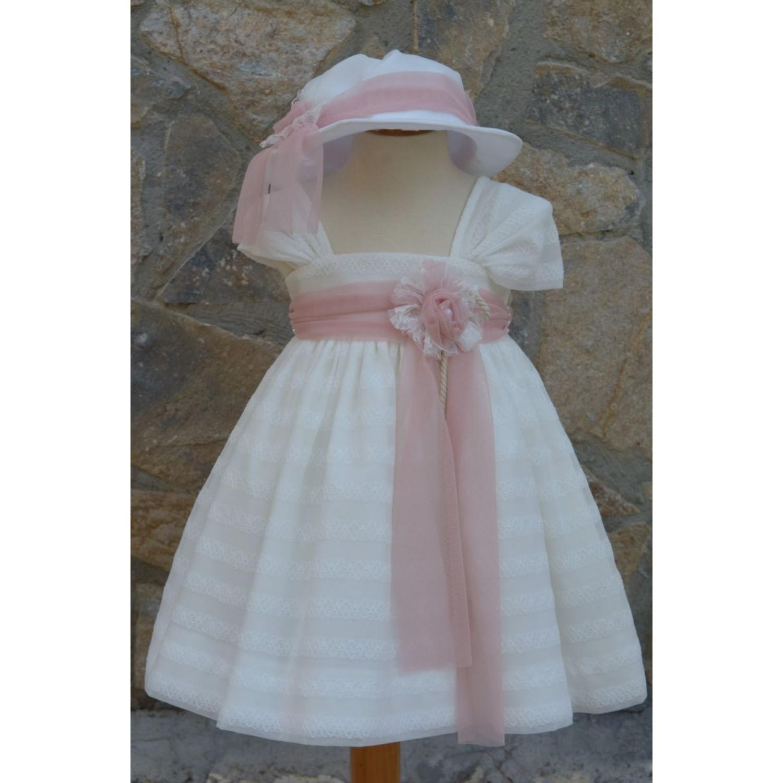 Φόρεμα Βάπτισης Bebe en Rose 68250 - Papillon eShop  7ba52f61ce7