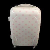 Βαλίτσα Πλαστική Λευκή με ροζ πουά