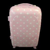 Βαλίτσα Πλαστική Ροζ με λευκό πουά