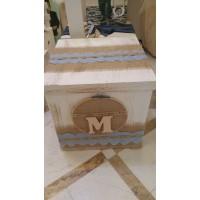 Κουτί Βάπτισης Κύβος με Αρχικό