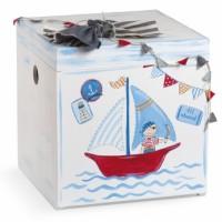 Κουτί βάπτισης Κύβος με Καράβι