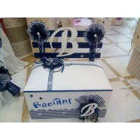 Κουτί βάπτισης Παγκάκι με Αρχικό