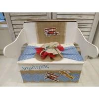 Κουτί Βάπτισης Παγκάκι - Θρανίο με Αεροπλάνο