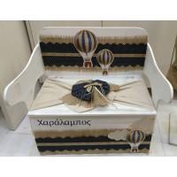 Κουτί Βάπτισης Παγκάκι - Θρανίο με Αερόστατο