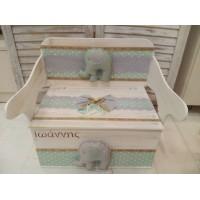 Κουτί Βάπτισης Παγκάκι - Θρανίο με Ελέφαντας