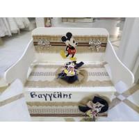 Κουτί Βάπτισης Παγκάκι - Θρανίο με Mickey