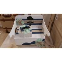 Κουτί Βάπτισης Παγκάκι - Θρανίο με Μουστάκι