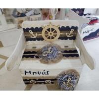 Κουτί Βάπτισης Παγκάκι - Θρανίο με Τιμόνι, Άγκυρα, Θάλασσα κωδ.7812