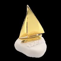 Μπομπονιέρα Βάπτισης Μεταλλικές Δημιουργίες σε Πέτρα Καράβι 6011