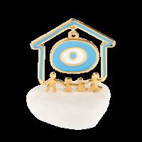 Μπομπονιέρα Βάπτισης Μεταλλικές Δημιουργίες σε Βότσαλο Σπιτάκι 61201A