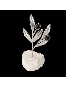 Μπομπονιέρα Βάπτισης Μεταλλικές Δημιουργίες σε Βότσαλο Κλαδί Ελιάς 82109