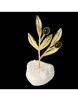 Μπομπονιέρα Βάπτισης Μεταλλικές Δημιουργίες σε Βότσαλο Κλαδί Ελιάς 82109A
