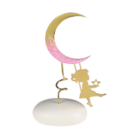 Μπομπονιέρα Βάπτισης Μεταλλικές Δημιουργίες σε Βότσαλο Φεγγάρι 8948B