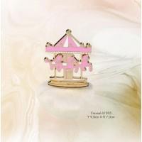 Μπομπονιέρα Βάπτισης Carousel Ρόζ σε Βότσαλο 61205
