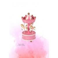 Μπομπονιέρα Βάπτισης Καρουσελ Ροζ Ξυλινο 200Α