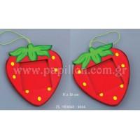 Μπομπονιέρα βάπτισης κορνίζα φράουλα  zl-11e6158