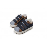 Babywalker Παπούτσια Βάπτισης  δίχρωμα sneakers τριπλό χρατς από δέρμα & ύφασμα