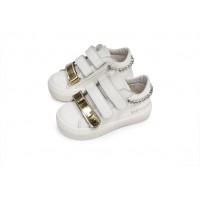 Babywalker Παπούτσια Βάπτισης  δερμάτινα sneakers τριπλό χράτς με swarovski στη φτέρνα
