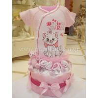 Δωρότουρτα με γατούλα (diaper cake)