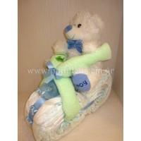 Δωρότουρτα Μηχανή με αρκουδάκι (diaper cake)