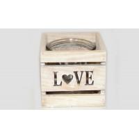 ΤΕΤΡΑΓΩΝΟ ΚΗΡΟΠΗΓΕΙΟ LOVE ΜΕ ΓΥΑΛΑ 12x12x11cm 0619012